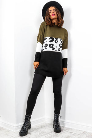Knits A Wild Thing - Khaki Black Leopard Knitted Jumper