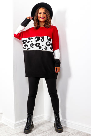 Knits A Wild Thing - Red Black Leopard Knitted Jumper