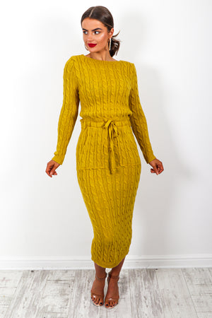 Knit's Complicated - Dress In MUSTARD