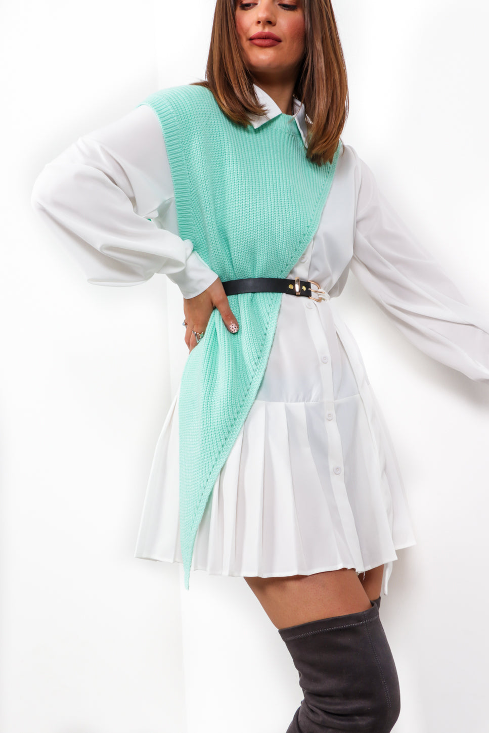 Knits Half Way There - White Mint Co-ord