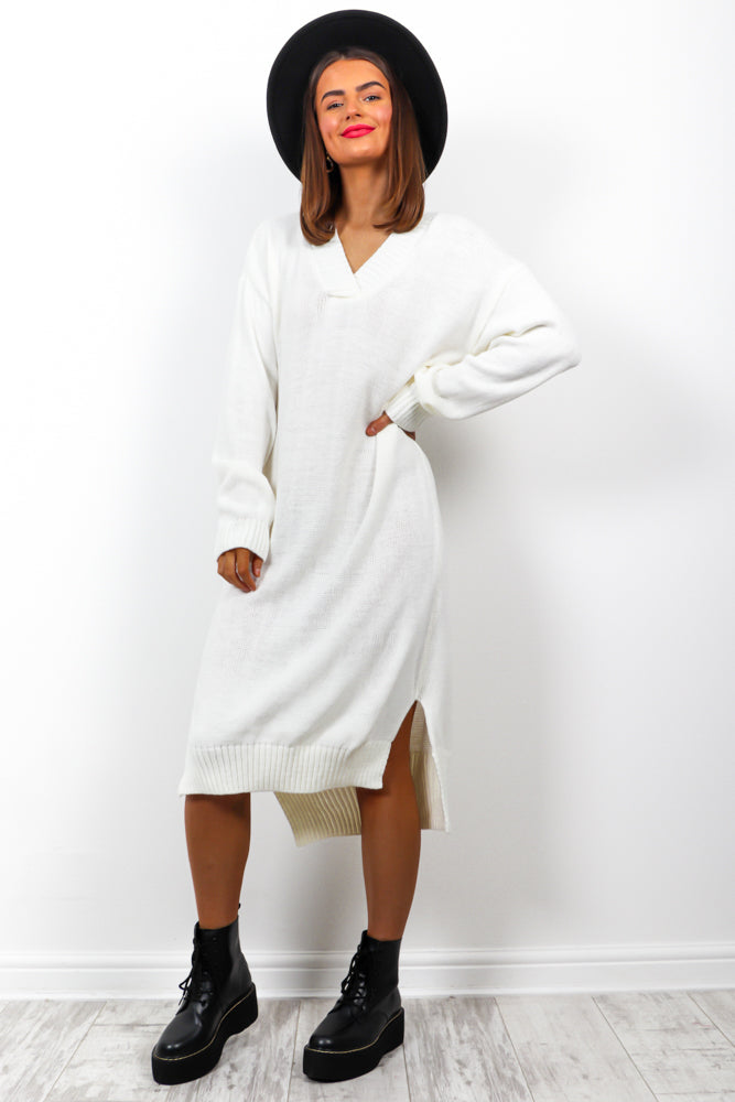 Knits Trending - Cream Jumper Dress