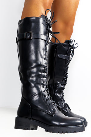 Lace To The Top - Black Lace Up Boot