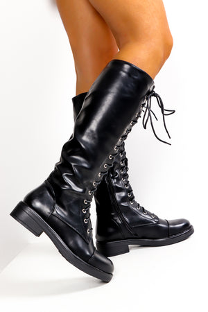Leather And Lace - Black Long Boot