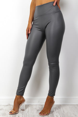 Leather Let Me Go - Grey Leggings
