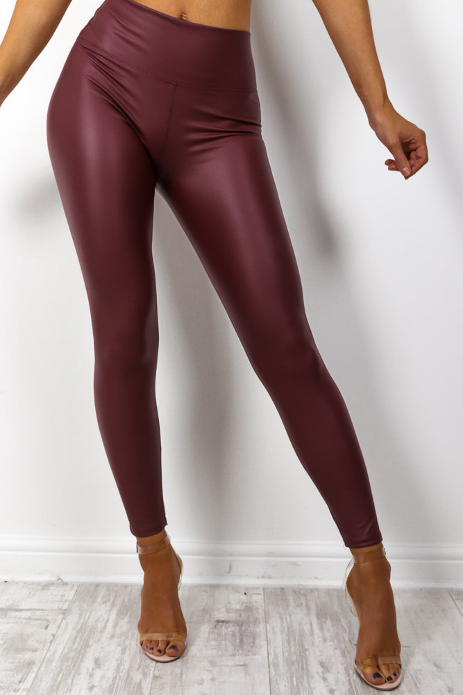 Leather Let Me Go - Wine Leggings