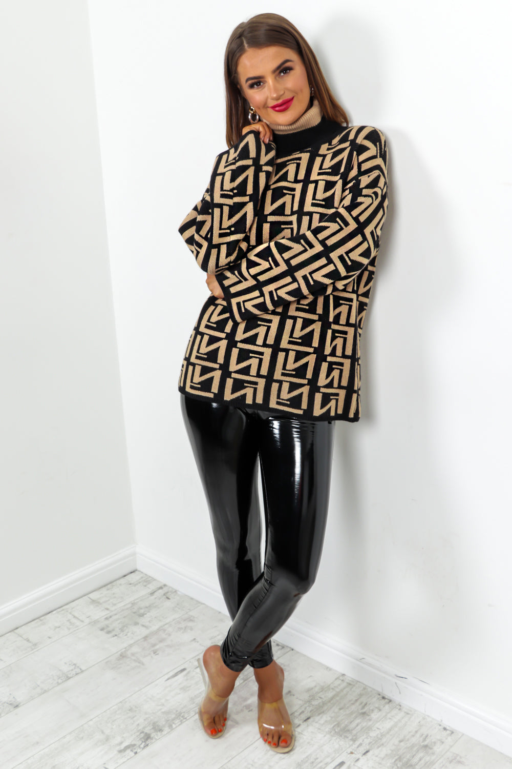Camel Black Printed Roll Neck Jumper