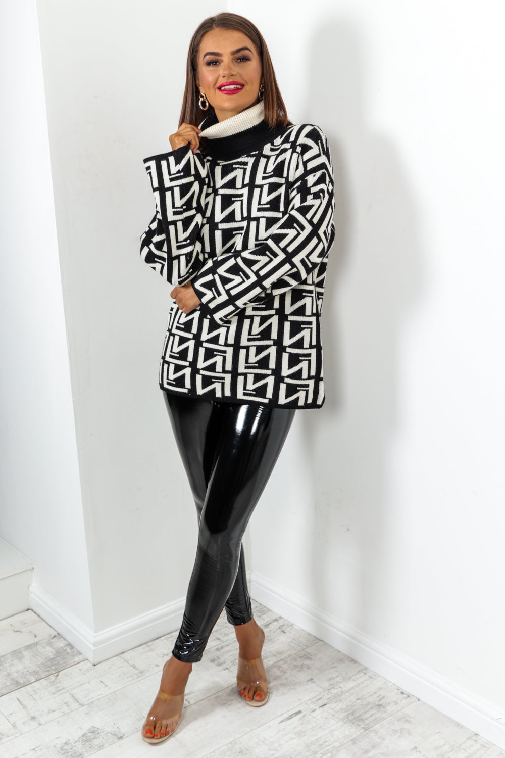 Cream Black Printed Roll Neck Jumper