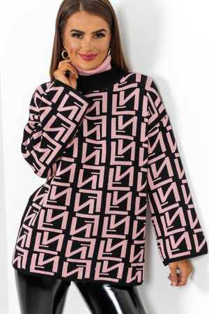 Let Knit Be Pink Black Printed Roll Neck Jumper