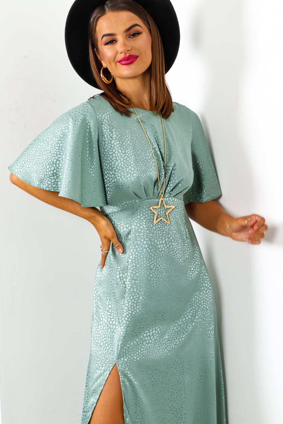 Let's Split - Sage Green Leopard Midi Dress