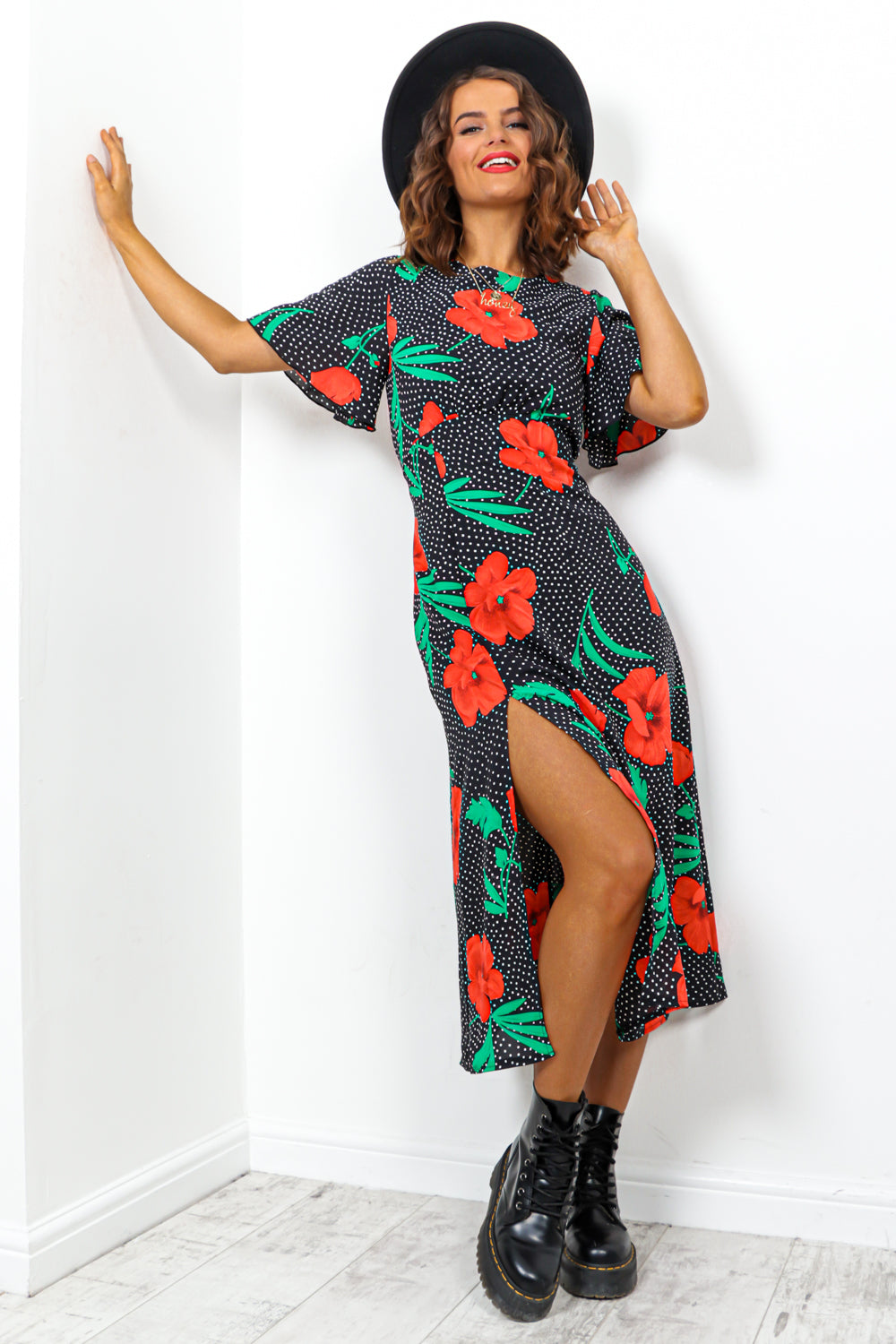 Black Red Floral Print Midi Dress