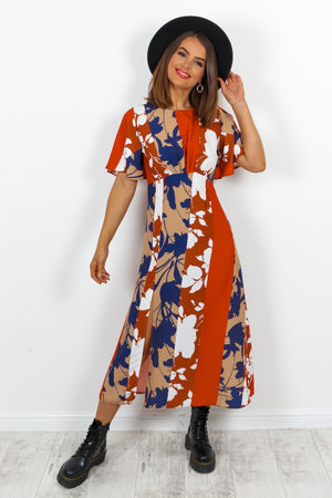 Let's Split Red Navy Multi Leaf Print Midi Dress