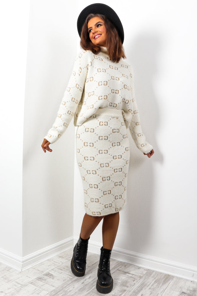 License To Lounge - Cream Gold Knitted Co-ord