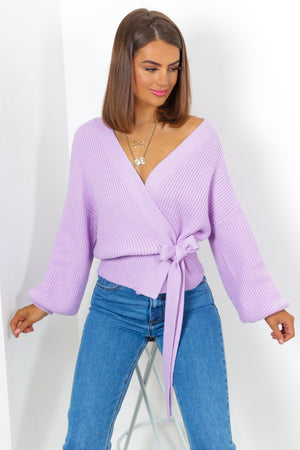 Lilac Cropped Knitted Cardigan