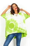 Lime Tie Dye High Low Hem T-Shirt DLSB Womens Fashion