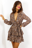 Livin Doll - Leopard Long Sleeve Mini Dress
