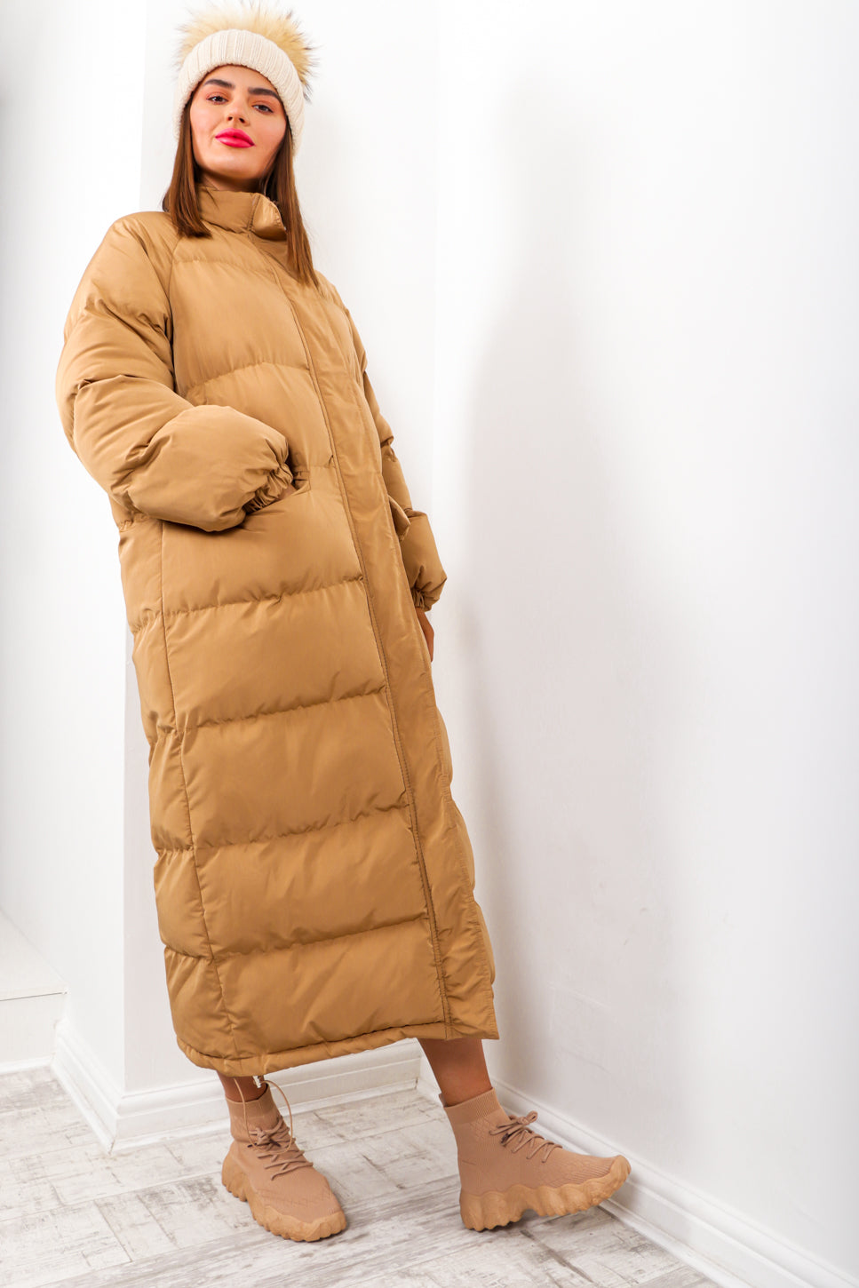 Long Time Coming - Camel Oversized Puffer Coat