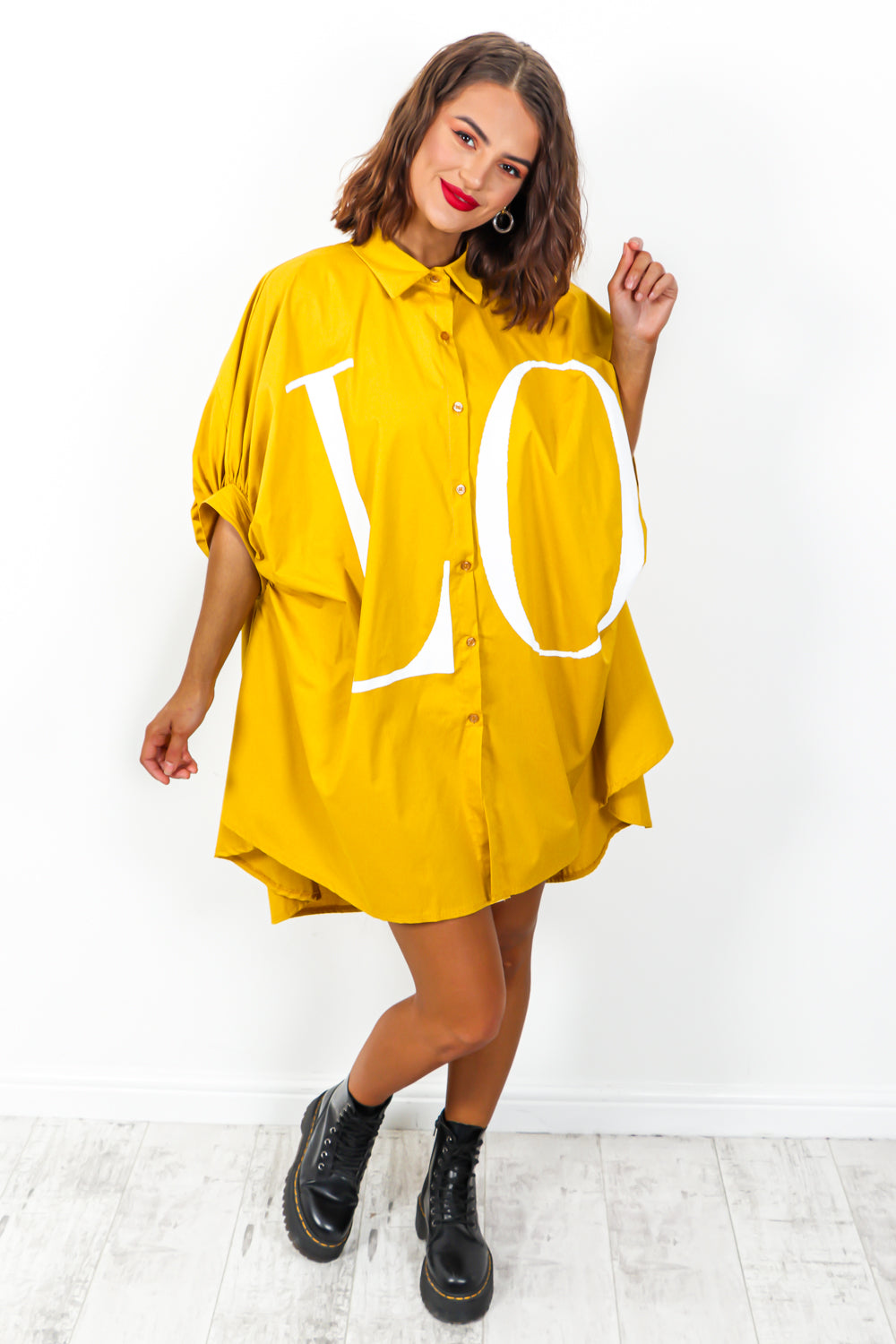 Spread The Love - Shirt Dress In MUSTARD