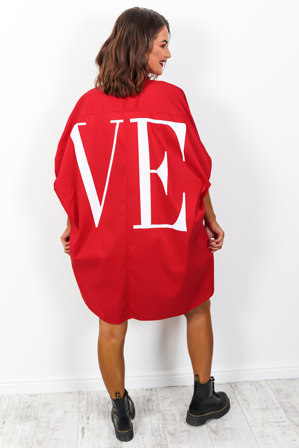 Spread The Love - Shirt Dress In RED
