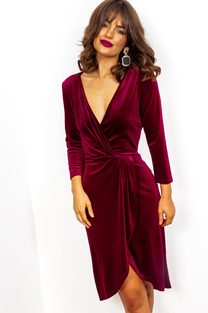 Love At First Sight - Wine Velvet Midi Dress