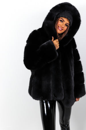 Mad Fur Your Love - Black Faux Fur Hooded Coat