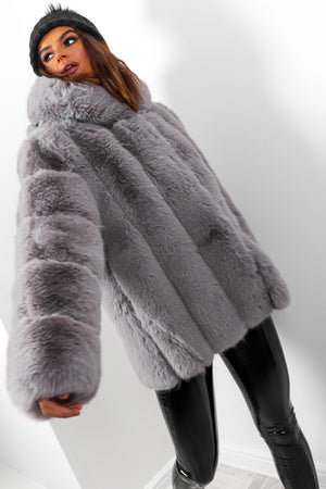 Mad Fur Your Love - Grey Faux Fur Hooded Coat