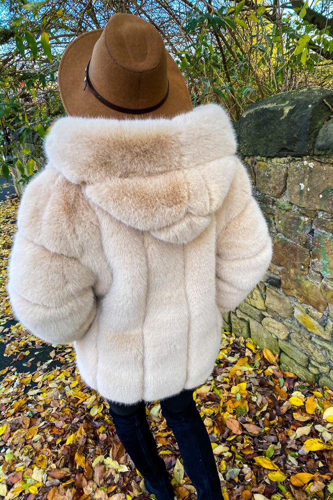 Mad Fur Your Love - Beige Faux Fur Hooded Coat