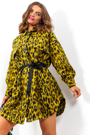 Make A Statement - Yellow Leopard Shacket