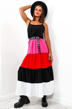 Multi Colour Block Tier Dress DLSB Womens Fashion