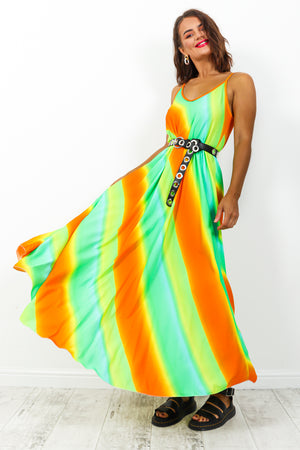Sunshine And Rainbows - Dress In ORANGE/MULTI