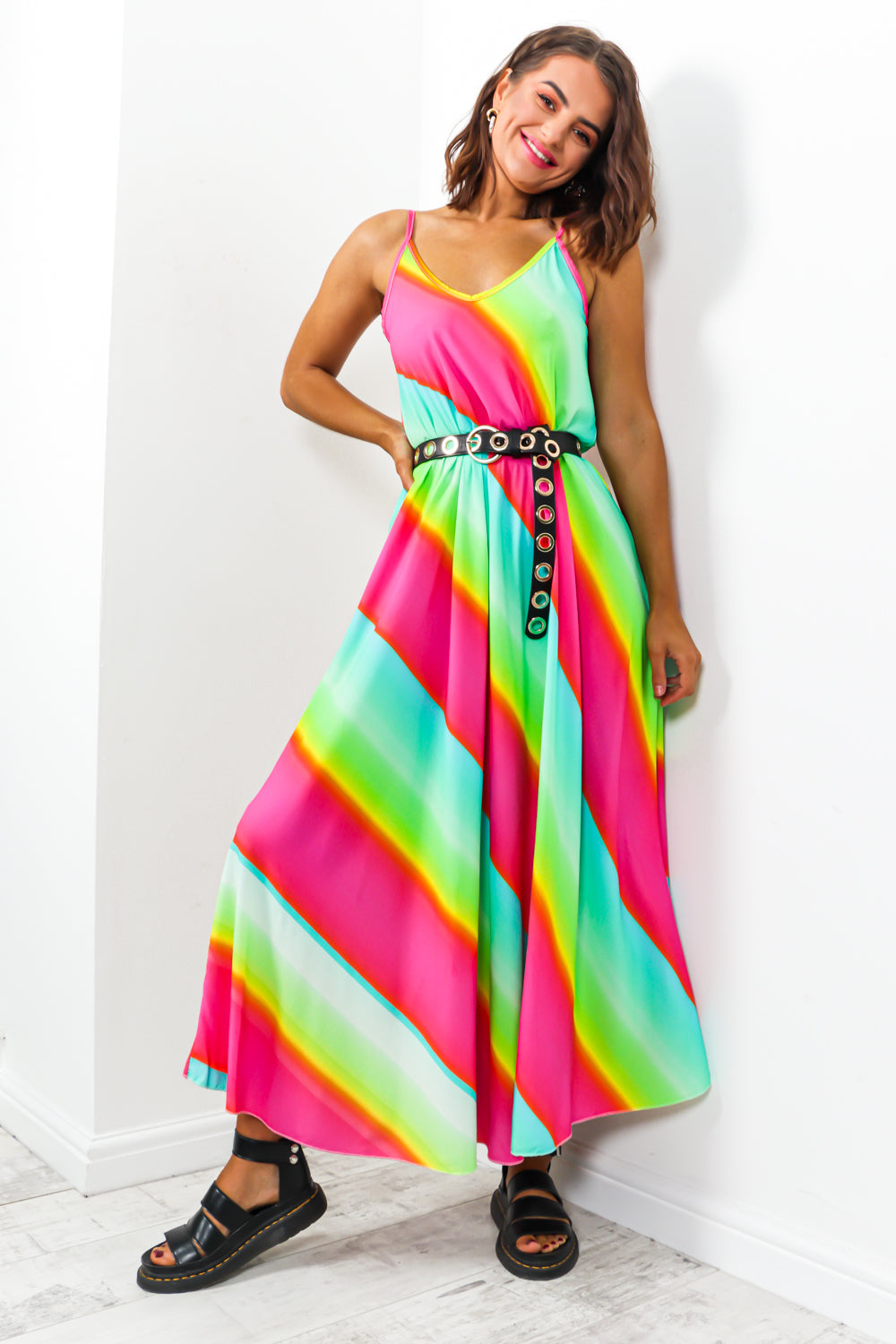 Sunshine And Rainbows - Dress In PINK/MULTI