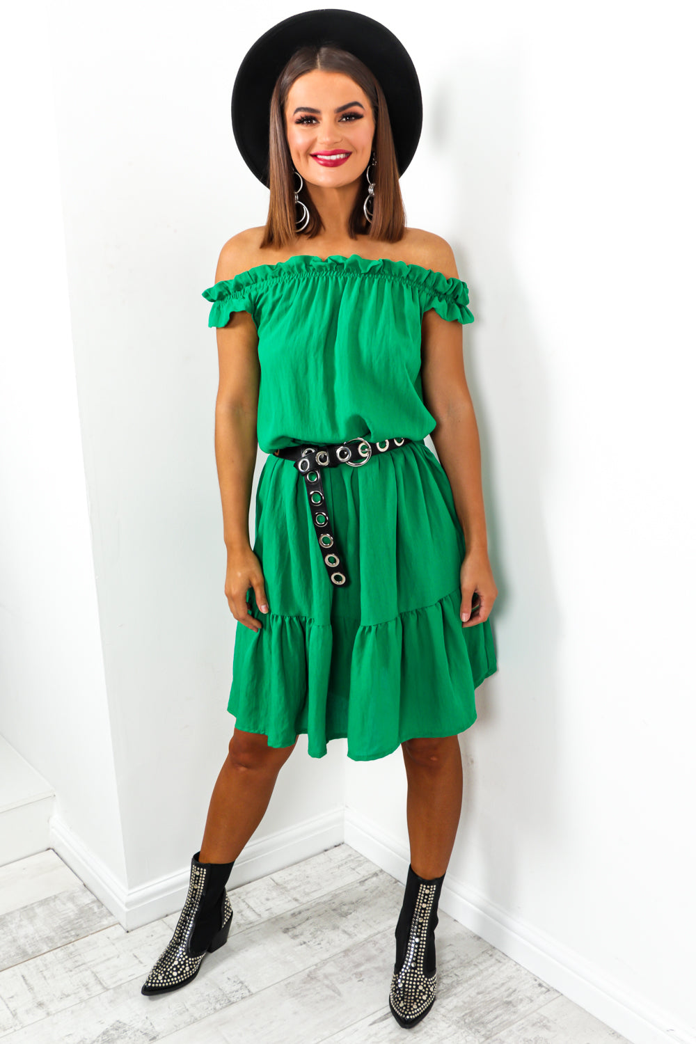Green Ruched Off The Shoulder Midi Dress DLSB Womens Fashion