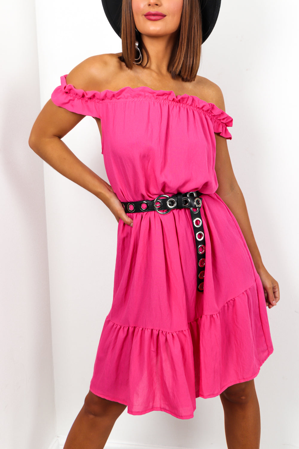 Hot Pink Ruched Off The Shoulder Midi Dress DLSB Womens Fashion