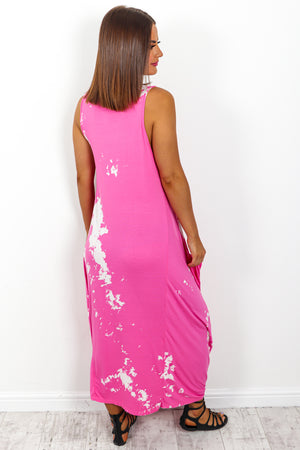 Hot Pink Marble Print Midi Dress DLSB Womens Fashion