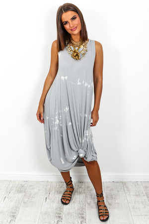 Grey Marble Print Midi Dress DLSB Womens Fashion