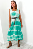 Dress Maxi Green Tie Dye- DLSB Women's Fashion