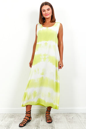 Dress Maxi Lime Tie Dye- DLSB Women's Fashion