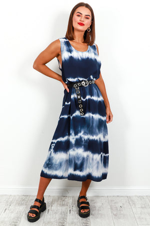 Dress Maxi Navy Tie Dye- DLSB Women's Fashion