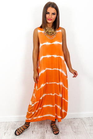 Orange Tie Dye Print Midi Dress DLSB Womens Fashion