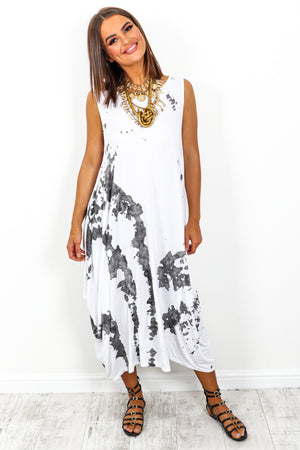 White Marble Print Midi Dress DLSB Womens Fashion