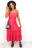Midi Tier Cami Dress Pink- DLSB Womens Fashion