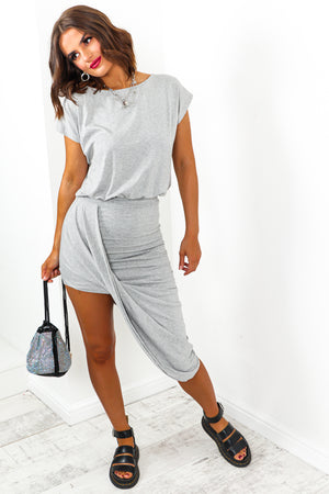 Wrap Hem Midi Dress Grey- DLSB Womens FashionWrap Hem Midi Dress Grey- DLSB Womens Fashion