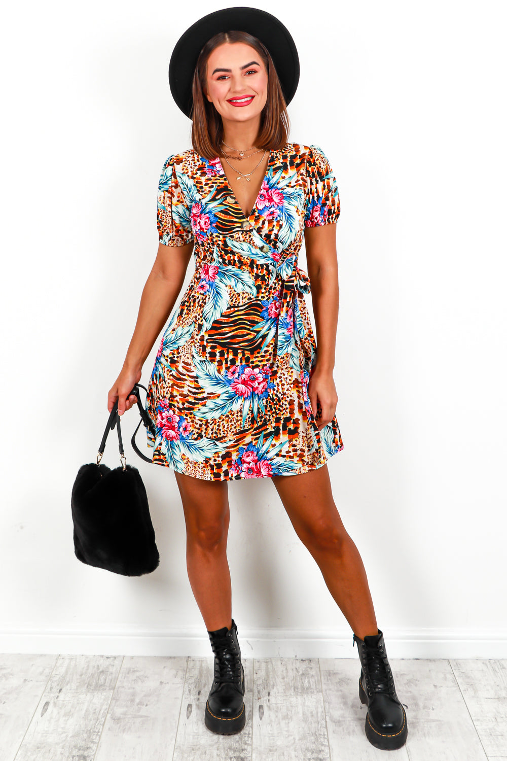 Dress Mini Floral Leopard Print- DLSB Women's Fashion