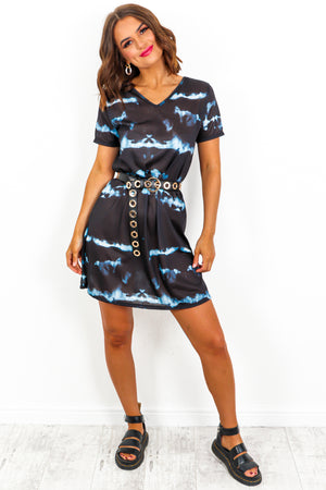 Tie-Dye Tie Back Dress Black- DLSB Womens Fashion