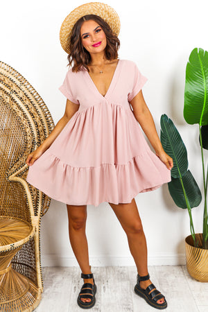 Mini Smock Tier Dress Blush - DLSB Womens Fashion