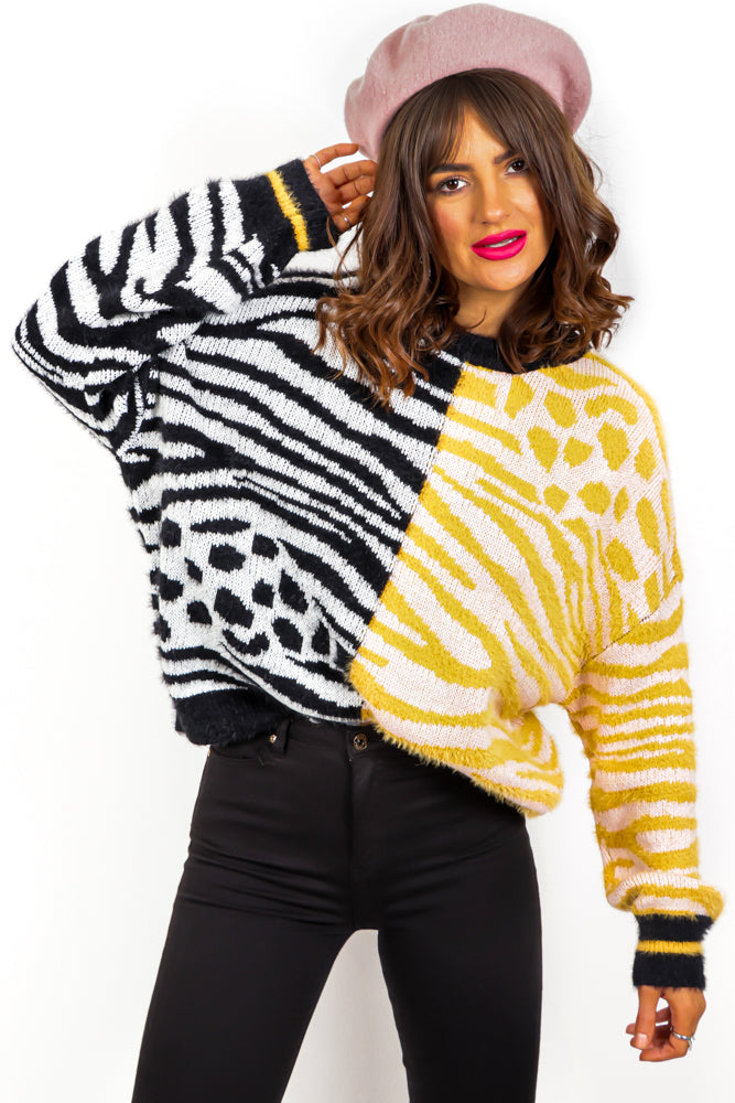 Mix It Up - Black Multi Animal Print Knitted Jumper