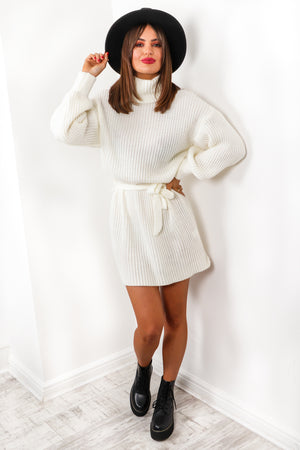 Moment Like This - Cream Roll Neck Mini Dress