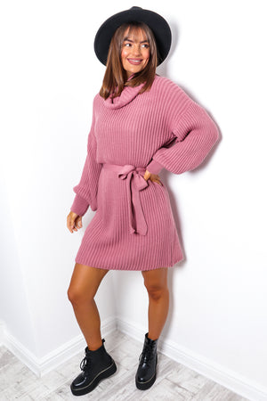 Moment Like This - Rose Roll Neck Mini Dress
