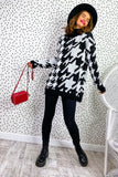 Monochrome Madness - Houndstooth Oversized Jumper