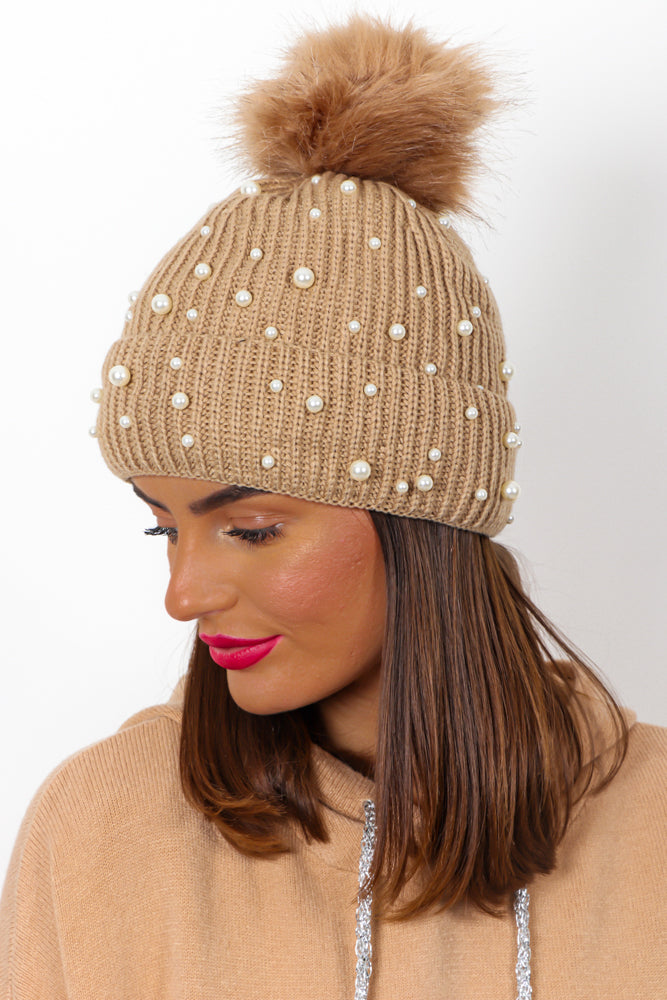 Mother Of Pearl - Beige Knitted Pom Pom Hat