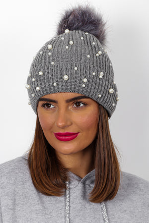 Mother Of Pearl - Dark Grey Knitted Pom Pom Hat